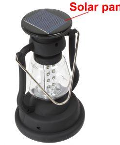 Solar Panel LED Camping Light Outdoor Hand Dynamo Lantern Lamp 16 LEDs