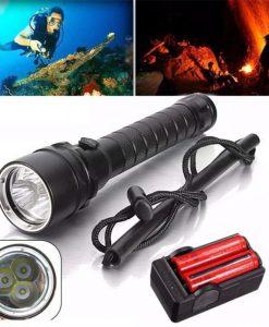 Wosawe Torch 8000Lm 3x XM-L2 Q5 LED Underwater 100M 18650 Lamp Flashlight