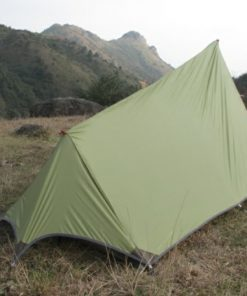 Single layer ultra-light tent is suitable for 1 person Outer tent: 20 D siliconized nylon both sides,waterproof index PU 2000mm ;Light with excellent tensile strength; Outer tent and inner tent is one-piece designed,connected by mesh net ,which enlarge space for this tent