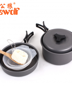 Hewolf 6pcs/Set Pots Portable Outdoor Cookware Cooking Pots
