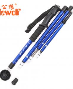 Hewolf 4 Sections Telescopic Walking Stick Ultralight Aluminum Alloy