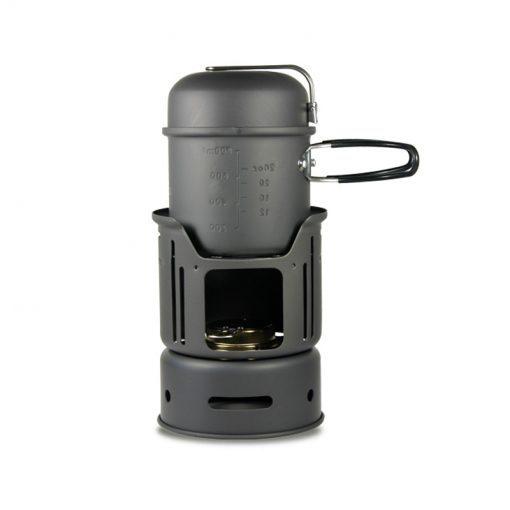 Alocs Alcohol Stove pot 7pcs Portable Cooking Set Cookware Lightweight